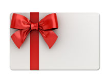 Blank gift card with red ribbons and bow isolated on white background with shadow Stock Images