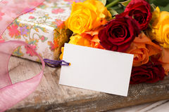 Blank Gift Card by Roses and Present Valentines Mothers Day Stock Photography