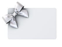 Blank gift card with silver ribbon bow isolated on white background Stock Photography