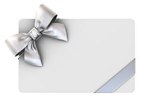 Blank gift card with silver ribbons and bow isolated on white Royalty Free Stock Image