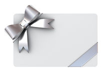 Blank gift card with silver ribbons and bow Stock Images