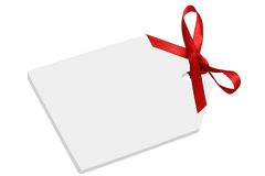 Blank gift or price tag with bow Royalty Free Stock Photo