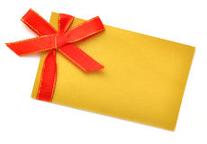 Blank gift with of red satin ribbon Royalty Free Stock Photography