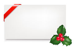 Blank Gift Tag With Holly Berry. Vector Royalty Free Stock Images