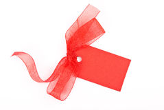 Blank gift tag tied with a bow Stock Image