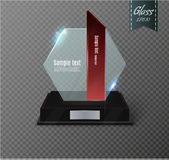 Blank glass award trophy on a transparent background.glass shelf. Glossy trophy award for illustration.realistic empty.black 3D booth .vector Royalty Free Stock Images