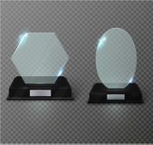 Blank glass award trophy on a transparent background.glass shelf. Glossy trophy award for illustration.realistic empty.black 3D booth .vector Stock Photography