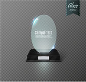 Blank glass award trophy on a transparent background.glass shelf. Glossy trophy award for illustration.realistic empty.black 3D booth .vector Stock Photo