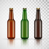 Blank glass beer bottle for new design. Vector Royalty Free Stock Photo