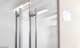 Blank glass door with metal handles mockup Stock Images