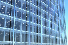 Blank glass facade of curved office building Stock Photos