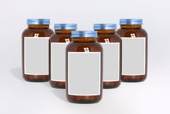 Blank glass medical bottles with tablets pills and label. 3d illustration vector illustration