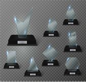 Blank glass trophy award on a transparent background. Stock Photos