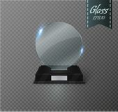 Blank glass trophy award on a transparent background. Glossy trophy for illustration award.realistic empty.black stand 3D Royalty Free Stock Photography