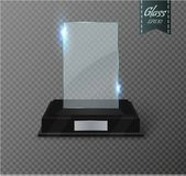 Blank glass trophy award on a transparent background. Glossy trophy for illustration award.realistic empty.black stand 3D Stock Photo
