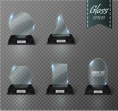 Blank glass trophy award on a transparent background. Glossy trophy for illustration award.realistic empty.black stand 3D Royalty Free Stock Photos