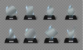 Blank glass trophy award on a transparent background. Glossy trophy for illustration award.realistic empty.black stand 3D Royalty Free Stock Photo
