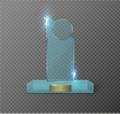 Blank glass trophy award on a transparent background. Glossy trophy for illustration award.realistic empty.black stand 3D Stock Image