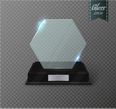 Blank glass trophy award on a transparent background. Royalty Free Stock Photography