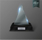 Blank glass trophy award on a transparent background. Glossy trophy for illustration award.realistic empty.black stand 3D Royalty Free Stock Image