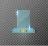Blank glass trophy award on a transparent background. Glossy trophy for illustration award.realistic empty.black stand 3D Stock Photos