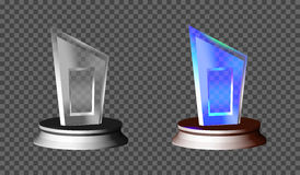 Blank glass trophy award on a transparent background. Glossy trophy for illustration award. realistic empty. stand 3D . vector Stock Photos
