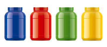 Blank glossy bottles mockups for protein. Colored version. Royalty Free Stock Photography