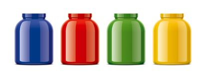 Blank glossy bottles mockups for protein. Colored version. Stock Image