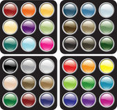 Blank Glossy Button Sets Stock Photo