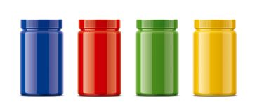 Blank glossy plastic bottles. Colored version. Stock Images