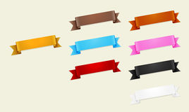 The blank glossy ribbons set. The set of seven blank glossy ribbons ready for your text Royalty Free Stock Photos