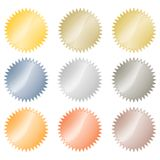 Blank glossy vector stickers in gold, red gold, platinum, silver, bronze, copper, aluminum. Which can be used as a coin, labels, b. Uttons Royalty Free Stock Photography