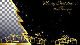 Blank of gold on a black background of the Christmas tree. With gifts and glitter Royalty Free Stock Photography