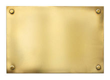 Blank gold or brass metal sign or nameboard. Isolated Royalty Free Stock Image