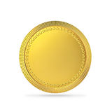 Blank gold coin, gold medal with clipping path Stock Images