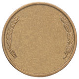 Blank gold coin. Blank gold medal on a white background stock image