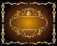 Blank gold frame calligraphic Royalty Free Stock Images