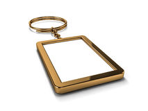Blank gold keychain. Mockup. 3D rendering illustration of a blank metal keychain with a ring for a key, Isolated on a white background. Ideal template for Royalty Free Stock Images