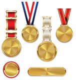 Blank gold medal with tricolor ribbon. Collection Stock Images