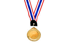 Blank gold medal on white Royalty Free Stock Image