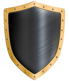 Blank gold metal shield isolated 3d illustration Stock Photography