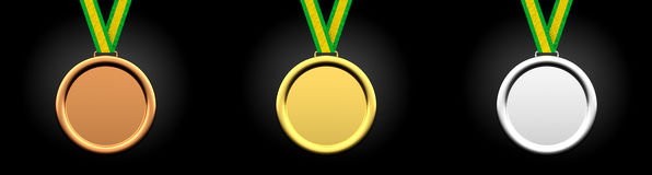 Blank Gold, Silver, and Bronze Medals Isolated, 3D Rendering Royalty Free Stock Photos