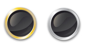 Blank gold and silver buttons. On White Royalty Free Stock Photos