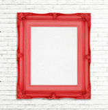 Blank Gold Vintage photo frame on white brick wall, Template for Stock Image