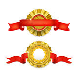 Blank golden award medal with ribbon. Royalty Free Stock Images