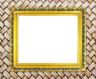 Blank golden frame on bamboo texture Royalty Free Stock Images