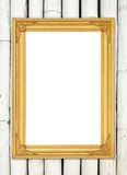 Blank golden frame on colorful bamboo wall Royalty Free Stock Photo