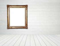 Blank Golden Frame In Room With White Wood Wall And Wood Floor Stock Photography