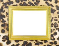 Blank golden frame with leopard texture Royalty Free Stock Photo
