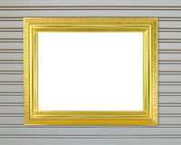 Blank golden frame on metal wall Stock Images